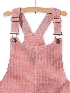 Abito salopette rosa antico in velluto a costine bambina MASAUROB2 / 21W901P3ROB303