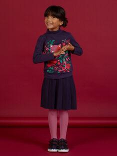 Gonna blu scura plissé in maglia bambina MAFUNJUP1 / 21W901M1JUPH703