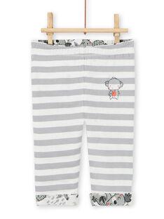 Pantaloni double face grigi ed ecrù con stampa koala neonato LUPOEPAN2 / 21SG10Y1PAN001