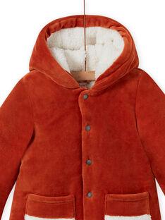Parka con cappuccio con motivo volpe in velluto a costine neonato MUGROPAR / 21WG1051PAR408