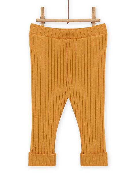Leggings tinta unita giallo senape a costine neonata MYIJOLEGCO5 / 21WI0912CALB106