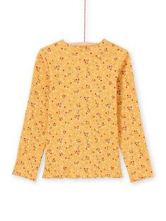 T-shirt a costine senape con stampa a fiori MAJOUTEE3 / 21W9012DTMLB106