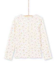 T-shirt a costine maniche lunghe ecrù motivo a fiori bambina MAJOUTEE4 / 21W90128TML001