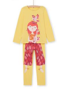 Pigiama giallo con stampa bambina con portapigiama LEFAPYJBIR / 21SH11S1PYGB116