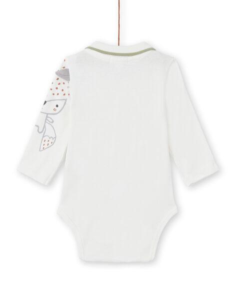Body maniche lunghe ecrù motivo volpe neonato MOU1BOD5 / 21WF0441BOD001
