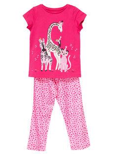 Pigiama in jersey rosa bambina e pantaloni in viscosa JEFAPYJSAV / 20SH1123PYJF507