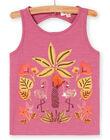 Canottiera, stampa fenicotteri rosa e palme con ricami LATERDEB2 / 21S901V2DEB322