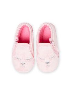 Babbucce rosa chiaro in finta pelliccia motivi gatto neonata MIPANTFUR / 21XK3722D0A321