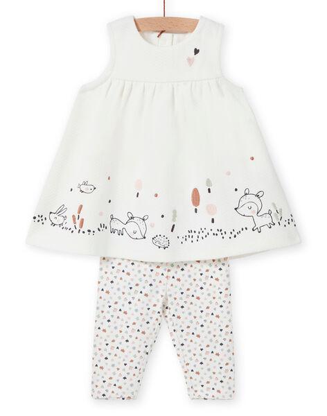 Completo abito e leggings con motivo fantasia nascita bambina MOU1ENS6 / 21WF0342ENS001