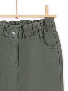 Pantaloni paperbag kaki in twill bambina MAKAPANT / 21W901I1PAN626