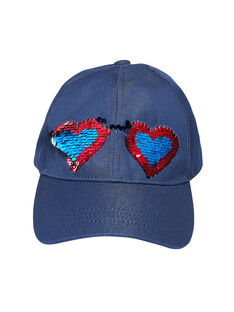 Cappellino bambina in denim navy con paillettes double face JYAGRACAP / 20SI01E1CHAP271