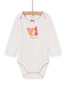 Body bianco con pois motivo animali neonata MEFIBODAMI / 21WH13C5BDL001