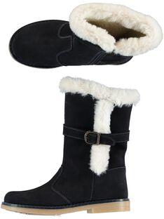 Stivali caldi crosta di pelle navy bambina GFBOTTERINE / 19WK35Y3D10070