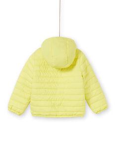 Giubbotto double face con cappuccio giallo e blu bambino LOGROBLOU2 / 21S902R4BLO070