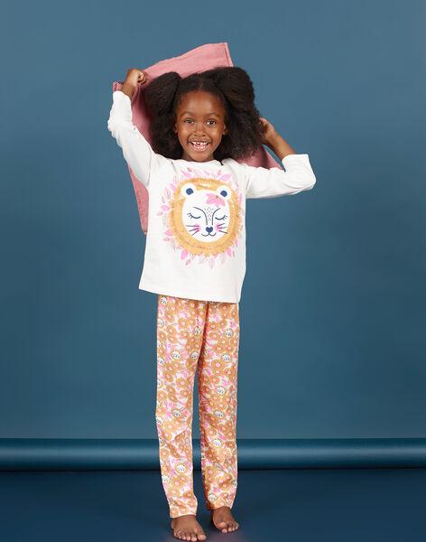 Set pigiama t-shirt e pantaloni bianco e arancione bambina MEFAPYJLEO / 21WH1133PYJ001