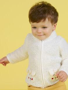 Cardigan ecrù con motivo pecora neonato MUMIXGIL / 21WG10J1GIL001