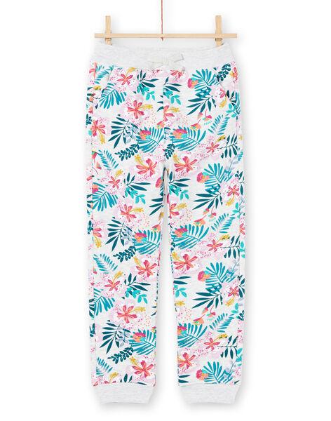 Pantaloni sportivi grigio melange e rosa stampa foglie bambina MAJOBAJOG1 / 21W90112JGB943