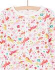 Set pigiama t-shirt e pantaloni rosa ed ecrù stampa unicorni e fantasia bambina MEFAPYJUNI / 21WH1186PYJ001