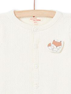 Cardigan in maglia ecrù con motivo volpe nascita unisex MOU1GIL2 / 21WF0541GIL001