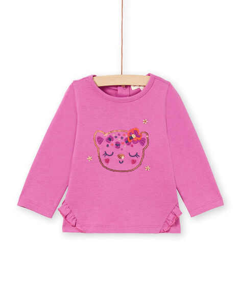 T-shirt a maniche lunghe rosa con motivo testa di leopardo e glitter neonata MIPATEE2 / 21WG09H3TMLH705