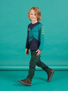 Pantaloni in sergé verde scuro bambino MOTUPAN2 / 21W902K2PANG618
