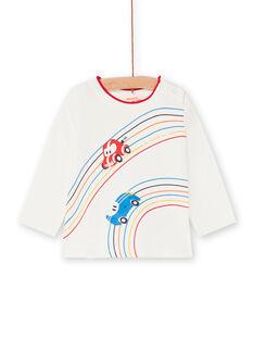 T-shirt ecrù e rossa neonato LUHATEE1 / 21SG10X2TML001