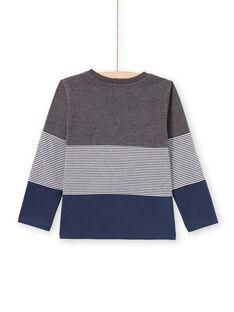 T-shirt grigio melange e navy bambino MOJOTIDEC3 / 21W90222TML944