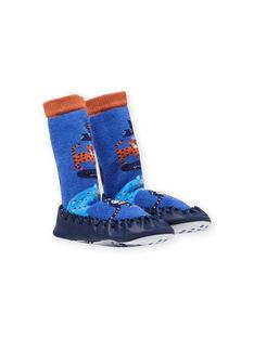 Pantofole alte blu motivo animali neonato MUCHO7ANIM / 21XK3821D08C201
