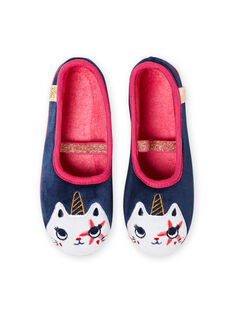 Pantofole navy motivo gatto unicorno bambina MAPANTCATLIC / 21XK3534D07070