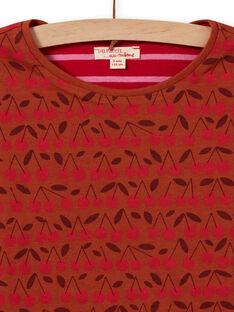 T-shirt a maniche lunghe double face cammello e rossa bambina MACOMTEE4 / 21W901L4TML420