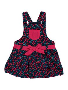 Baby girls' strappy velour dress DITRIROB2 / 18WG09D1ROB099