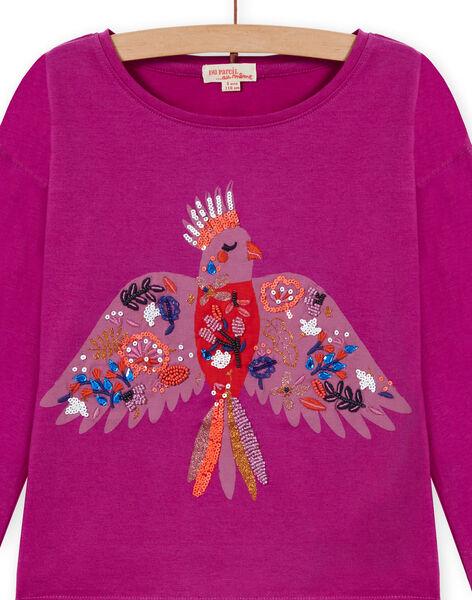 T-shirt maniche lunghe porpora con motivo pappagallo bambina MAPATI1 / 21W901H3TML712