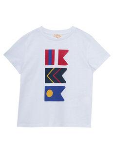 T-shirt bianca con stampa bandiere bambino JOWETI2 / 20S90292TMC000