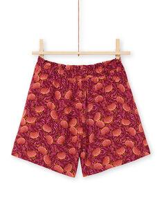 Shorts bordeaux e arancioni con stampa foglie bambina LATERSHORT3 / 21S901V2SHO719