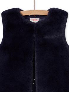 Cardigan senza maniche double face in finta pelliccia blu notte bambino MAPLACAR1 / 21W901O2CARC202