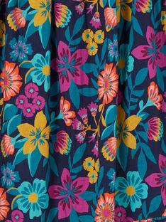 Gonna lunga blu stampa fiori colorati bambina LAMUMJUP2 / 21S901Z1JUPC211
