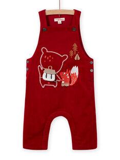 Salopette rossa in velluto a costine con motivi fantasia neonato MUFUNSAL1 / 21WG10M2SAL510