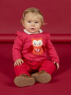 Maglia rosa con motivo gufo neonata MIFUNPUL / 21WG09M1PULD332