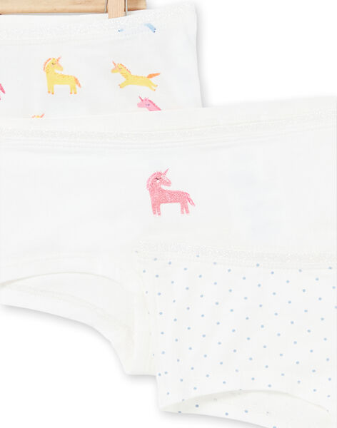 Set 3 culotte bianche, gialle e rosa bambina LEFAHOTLIC / 21SH1121SHY001