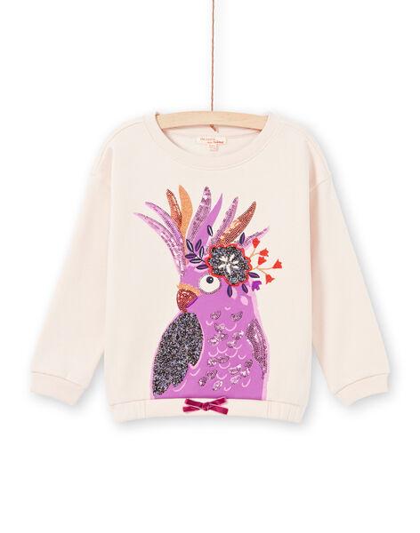 Felpa a maniche lunghe rosa chiaro con stampa pappagallo bambina MAPASWEA / 21W901H1SWED319