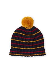 Berretto blu notte, giallo e rosso a righe e pompon bambino MYOGROBON2 / 21WI0254BON705