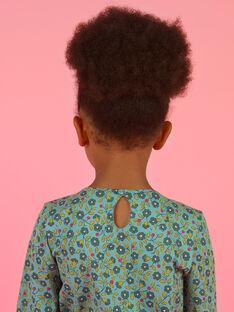 Blusa maniche lunghe verde chiaro con stampa fiori bambina MAKATEE5 / 21W901I5TML612