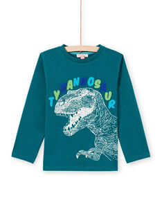 T-shirt a maniche lunghe blu con motivo tirannosauro bambino MOTUTEE6 / 21W902K6TML714
