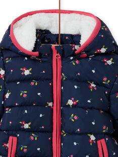 Piumino con cappuccio navy con stampa a fiori neonata MIKADOU / 21WG0952D3E070