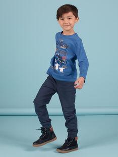 Pantaloni sportivi blu notte con stampa stelle bambino MOPLAPAN2 / 21W902O2PAN705