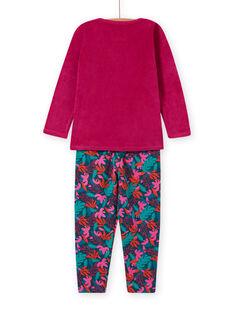 Completo pigiama T-shirt e pantaloni in velluto con stampa tropicale bambina MEFAPYJMON / 21WH1183PYJD312