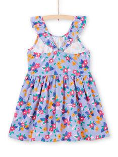 Abito con spalline con volant stampa a righe e fiori bambina LAPLAROB1 / 21S901T2ROB000