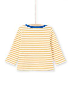 T-shirt maniche lunghe a righe gialle e bianche motivo pecora neonato MUJOTEE1 / 21WG1022TML117