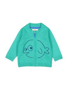 Cardigan con cerniera verde neonato FUJOGIL4 / 19SG1034GIL210