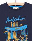 T-shirt maniche lunghe blu notte motivo Amsterdam bambino MOJOTEE4 / 21W90223TML705